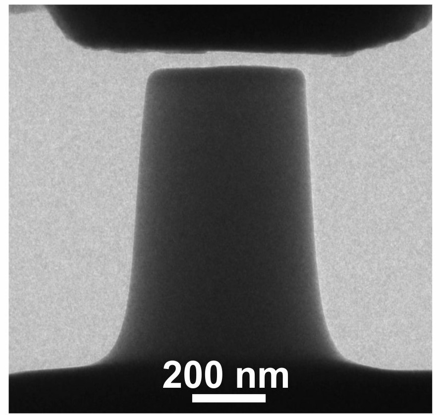 In situ compression testing of a fused silica pillar in the TEM.