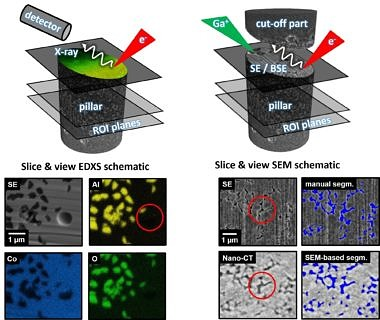 Correlative structural and elemental information from FIB/SEM and Nano-CT datasets allows umabigious analysis quantitatively